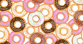 Animation seamless loop pattern colorfulred donuts. Donut with icing sprinkled with grains. Design for your ad, holiday designs, party, birthday, invitation. 4K video graphic animation 76341125