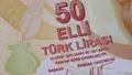 Orange 50 Turkish lira banknote 76355159
