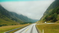 Car travel in Norway, drive on a scenic road among the mountains 76362484