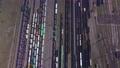 Aerial view of Railway sorting station and A lot of wagons at a railway 76366609