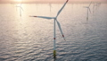large offshore wind farm or wind park in the sea 76371520
