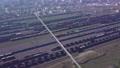 Aerial view of Railway sorting station and A lot of wagons at a railway 76379129