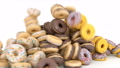 Doughnuts or donuts glazed with icing flow falling down in slow motion. 3d animation, 3d render 76390131