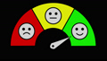 Satisfaction level evaluation with emoticons and arrow 76402734