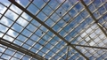modern glass roof of the building through which 76416821