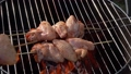 Male hands are placing a wooden skewer with raw chicken wings on the grill grid 76419267