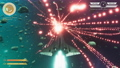 Mock-up fantasy space shooter video game with game over overlay 76479816