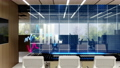 Stock market races graphic projection, office space. Empty office, stock infographics, fluctuating charts. 3d rendering 76494936