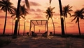 Table under canopy on the beach. Silhouette of beach cafe. Romantic dinner on the beach. Romantic sunset on the beach under palm trees 76542398