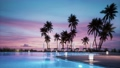 Lounge chair around swimming pool in hotel. Lounge deck chair and pool at sunset. Tropical vacation in luxurious hotel. Lounge bed and palm trees around swimming pool at sunset. 3d visualization 76542403