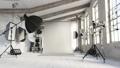 Photo studio interior with equipment. Interior of photo studio with professional equipment. Empty photo studio. 3d visualization 76542407