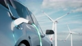 Car charging on the background of a windmills. Charging electric car. Electric car charging on wind turbines background. Vehicles using renewable energy. 3d visualization 76542417