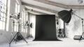 Empty photo studio with modern equipment. Loft-style photo studio. Vintage photo studio. 3d visualization 76542423