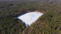 Beautiful lakes covered with ice in the forest. Drone view. Bird's eye view of the lake in ice in early spring. 76543332