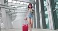 Asian female traveler walking 76556026