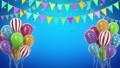 Two birthday balloons with candy and flags 76591542