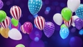 Multicolored balloons on the ceiling blurred bokeh background 76591544