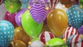3d render Frame of colorful balloons with bulbs hanging on a wire 76592250