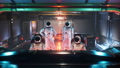 Astronauts travel in space in their interstellar spacecraft. The animation is for fantastic, the futuristic or space travel backgrounds. View of the spaceship with an astronaut. 76597916