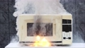 Microwave oven caught fire and caused domestic fire. 76600270