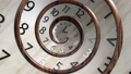 Vintage wood spin round clock face. 3D Render. 76624065