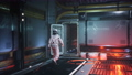 An interstellar spacecraft astronaut leaves the command room and walks down the corridor. The animation is for fantastic, the futuristic or space travel backgrounds. Astronaut in a spaceship. 76651603