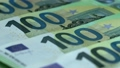 Macro lots of 100 euro. Cash money banknotes. Finance and investment concept. Closeup shot. Currency exchange of one hundred euro. Rich business economy of Europe. 76675851