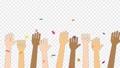 色々な人種が手を上げるアニメーション・お祝い・バンザイ / 4K (アルファチャンネル・背景なし) 76700948
