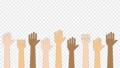 色々な人種が手を上げるアニメーション (人種差別反対/ 平和 ) / 4K (アルファチャンネル) 76700953