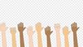 色々な人種が手を上げるアニメーション (人種差別反対/ 平和 ) / 4K (アルファチャンネル) 76700955