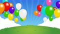 4K背景素材 /青空・草原と風船 (お祝い・明るい) カラフルなアニメーション(テキストスペース) 76701004