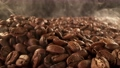 Super slow motion of coffee beans pile with camera move. Filmed on high speed cinema camera. 76723385