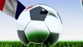 Seamless looping 3d animation of a soccer ball reflecting the flags of Wales and France in 4K resolution 76767747