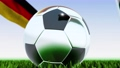Seamless looping 3d animation of a soccer ball reflecting the flags of Wales and Germany in 4K resolution 76767748