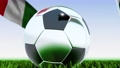 Seamless looping 3d animation of a soccer ball reflecting the flags of Wales and Italy in 4K resolution 76767750