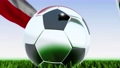 Seamless looping 3d animation of a soccer ball reflecting the flags of Wales and Poland in 4K resolution 76767753