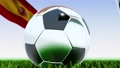 Seamless looping 3d animation of a soccer ball reflecting the flags of Wales and Spain in 4K resolution 76767756