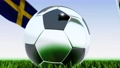 Seamless looping 3d animation of a soccer ball reflecting the flags of Wales and Sweden in 4K resolution 76767757