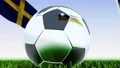 Seamless looping 3d animation of a soccer ball reflecting the flags of Ukraine and Sweden in 4K resolution 76769217