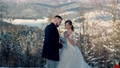 bride and groom in winter in nature 76770661