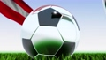 Seamless looping 3d animation of a soccer ball reflecting the flags of Wales and Austria in 4K resolution 76820448