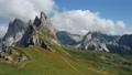 Seceda and Furchetta summit peaks in Trentino Alto Adige, Dolomites Alps, South Tyrol, Italy, Europe. Epic and unique most visited mountain range in Val Gardena, Dolomiti 76872929