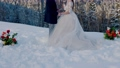 bride and groom in winter in nature 76874506