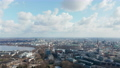 Panoramic aerial view of Hamburg city center with church spires rising above the cityscape 76896506
