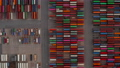 Overhead top down aerial view of colorful cargo containers in large port in Hamburg, Germany 76896510