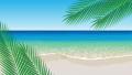南国の浜辺とヤシをイメージした葉のイラスト動画素材 76940738