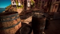 old wooden wine barrels in a sea town port 76977909