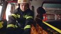 Fireman in cabin check data in digital tablet 77007386