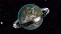 Alien planet with metal orbital station able to loop seamless 77030896