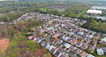 Modern of typical complex small american town buildings on aerial view landscape 77047094